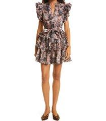 women's ulla johnson honoria print ruffle cotton poplin dress, size 10 - pink