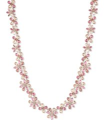 """givenchy gold-tone cubic zirconia flower collar necklace, 16"""" + 3"""" extender"""
