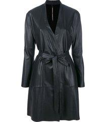 olsthoorn vanderwilt belted midi coat - black