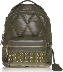 moschino designer handbags, green quilted nylon signature backpack