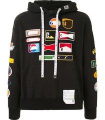 maison mihara yasuhiro wappen patchwork cotton hoodie - black