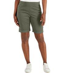 karen scott petite pull-on cuffed shorts, created for macy's