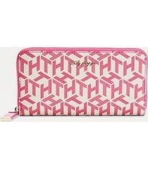 tommy hilfiger women's monogram large zip wallet hot magenta -