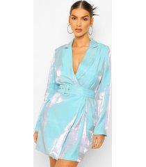 metallic satijnen blazer jurk met ceintuur, aqua