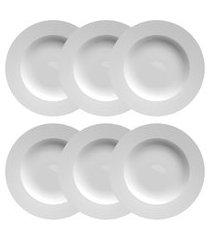 conjunto 6 pratos fundos porcelana flat germer 23.5cm branco