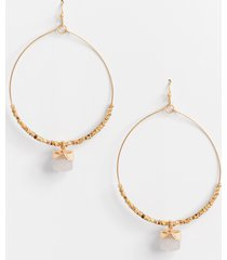 maurices womens natural stone beaded hoop earrings