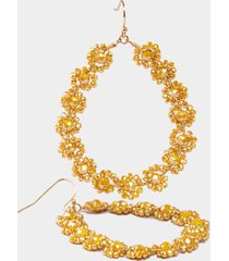 janiya flower teardrop earrings - mustard