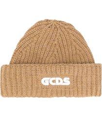 gcds crochet knit beanie - neutrals