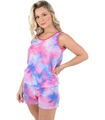pijama curto 4 estações tie dye regata feminino adulto verão tendência