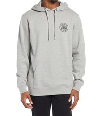men's vans tried and true logo graphic hoodie, size large - grey