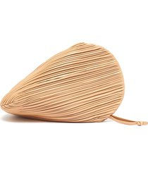 pluto' pleated swirl leather clutch