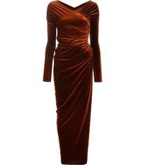 alexandre vauthier velvet long dress - orange