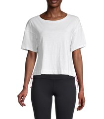activology women's side pull tab cropped active top - almost white - size l