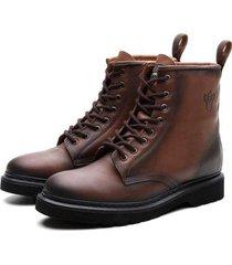 bota coturno masculino viena couro casual leve black boots - masculino