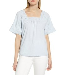 women's caslon lace inset boho t-shirt, size x-large - blue