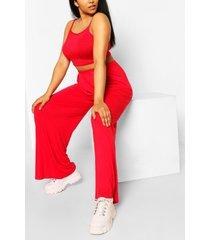 plus jersey hemdje en broek met wijde pijpen set, rood