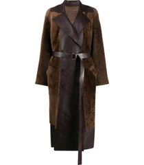 desa 1972 panelled belted trench coat - brown