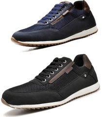 kit 02 pares de sapatênis sapato casual juilli masculino 1100m preto e azul.