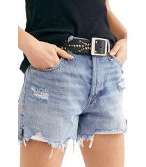 women's free people makai ripped cutoff denim shorts, size 24 - blue