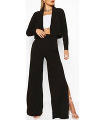 crop blazer & split wide leg trouser suit set, black