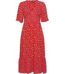 fayola drape midi tea dress knälång klänning röd french connection