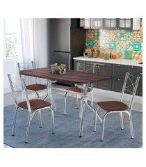 conjunto de mesa de jantar com 4 cadeiras miami corino marrom e tabaco