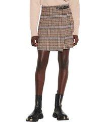 women's sandro buckle detail tweed skirt, size 2 - black