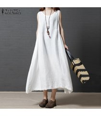 zanzea vestido sin mangas de verano sin mangas para mujer vestido a media pierna drapeado con dobladillo de ganchillo sundress -blanco