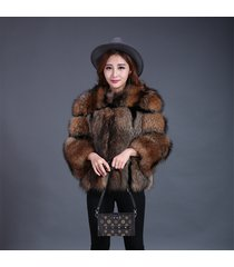 dark brown raccoon fur jackets for women fluffy rex rabbit fur blazer