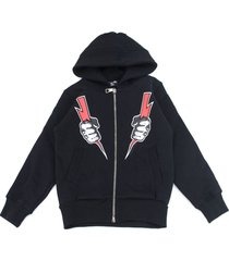 neil barrett black cotton hoodie