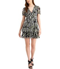 bar iii ruffled zebra-print mini dress, created for macy's