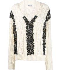 brognano lace-trim knit sweater - white