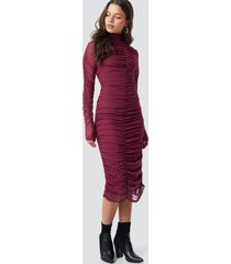 na-kd party ruched mesh dress - red