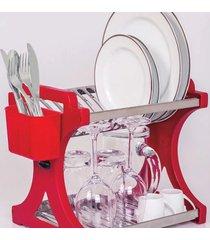 escorredor de pratos domum 12 pratos inox vermelho