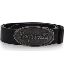 dsquared2 black logo belt