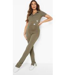 zwangerschap geribbelde crop top met rits en leggings set, light khaki