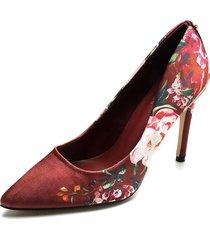 zapato vinotinto/flores tacón alto paris hilton p25-b
