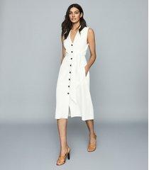 reiss rosalind - linen blend belted midi dress in white, womens, size 14