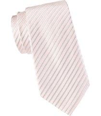 armani collezioni men's striped silk & cotton-blend tie - pink