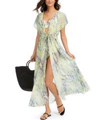 calvin klein st. tropez tie-front maxi cover-up women's swimsuit