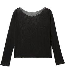 licht transparant shirt uit biologische zijde, zwart 36