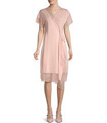 lace-trim wrap dress