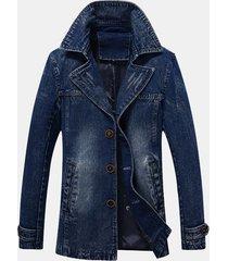 mens mid-long denim buckle decoration elegante giacca casual da uomo d'affari