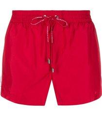 dolce & gabbana short swimming shorts with logoed ribbon - red