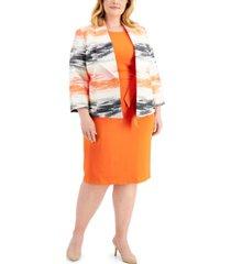 kasper plus size belted zip-pocket dress