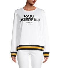 karl lagerfeld paris women's scuba logo sweatshirt - black - size xl