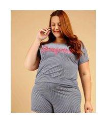 pijama plus size feminino listrado manga curta marisa