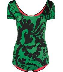 la doublej floral print surf swimsuit - green
