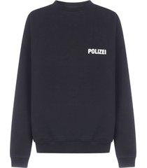 vetements polizei oversized cotton sweatshirt