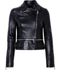 jaqueta john john rock star couro preto feminina (preto, gg)
